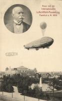 1909 Gruss von der Internationalen Luftschifffahrt-Ausstellung. Frankfurt / hot air balloon, Graf Zeppelin, 1909 Ferdinand von Zeppelin gróf, léghajó, hőlégballon