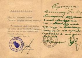 1945 Győr, a polgármester (Dr Velsz Aladás) által aláírt szabad mozgásra jogosító magyar-orosz kétnyelvű igazolvány / Hungarian-Russian ID