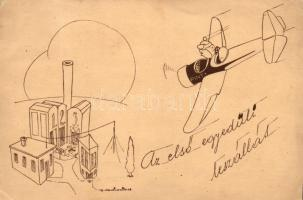WWII-era Hungarian airforce humorous postcard s: Martinovits,