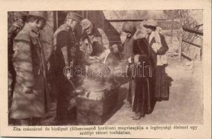 Zita királyné megvizsgálja a legénységi élelmet egy erdélyi tábori kórházban /, Zita, Queen of Hungary, tasting the food at a Transylvanian military hospital