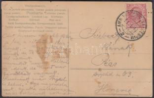 1911 Képeslap VENTIMIGLIA - GENOVA vasúti bélyegzéssel, 11.1.11. dátummal