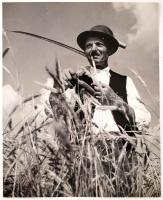 cca 1930 Lengyel Gábor: Kezdődik az aratás, feliratozott, aláírt fotóművészeti alkotás, magyaros stílusban, 30x24 cm