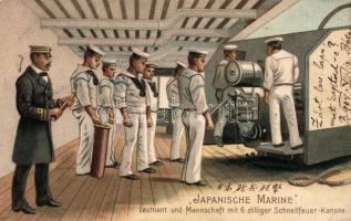 Japanische Marine. Leutnant und Mannschaft mit 6 zölliger Schnellfeuer-Kanone / Japanese battleship crew, litho, Japán csatahajó legénysége, litho