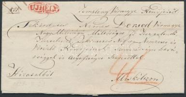 1828 Ex offo, vízjeles papíron teljes tartalommal, piros / red UJHELY - Miskolcz