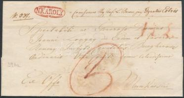 1831 Ex offo, vízjeles papíron, piros / red N.KAROLY - Munkácsini