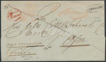 1843 Franco ajánlott levél / Franco registered cover, piros / red G.Canisa / Franco + RECOMEND