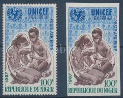 1967 UNICEF fogazott + vágott bélyeg Mi 176