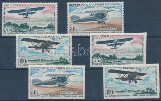 1968 Légiposta-vonal Niamey és Franciaország között fogazott + vágott sor Mi 182-184