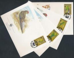 1987 WWF: Papagáj sor 4 db FDC-n Mi 421-424