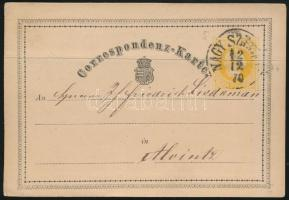 1870 2kr díjjegyes levelezőlap NAGY SZ(EBEN)