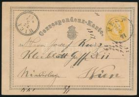 1871 2kr díjjegyes levelezőlap PEST
