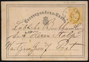 1870 2kr díjjegyes levelezőlap (SZOLNO)K