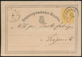 1870 2kr díjjegyes levelezőlap VESZPRÍM