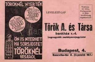 Hungarian lottery ticket advertisement, Török bankház osztálysorsjegye, Szervita tér 3.