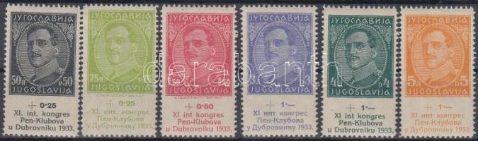 1933 PEN nemzetközi íróegyesület sor Mi 249-254 (Mi 250 falcos)