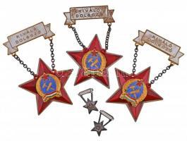 1955. Kiváló Dolgozó Rákosi-címeres zománcozott fém kitüntetés eredeti tokban (3x), kettő miniatűrrel és igazolvánnyal T:2