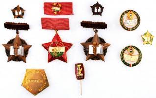 ~1970. Kiváló Dolgozó aranyozott, zománcozott fém jelvény (2x) + ~1960-1970. Kiváló Újító kitüntetés bronz fokozata miniatűrrel (2x) + arany fokozat miniatűrje tokban + Szakszervezetek Országos Tanácsa arany fokozatának kitüntetése, szalagsávon miniatűrrel, eredeti tokban + aranyozott, zománcozott kitűző T:2