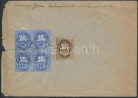 1946 (9. díjszabás) Távolsági levél Lovasfutár bélyegekkel bérmentesítve