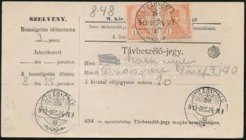 1913 Távbeszélő jegy 2x1K Turul bérmentesítéssel SZILÁGYCSEH
