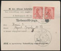 1916 Távbeszélő jegy 2x1K Turul bérmentesítéssel KOSSÓ