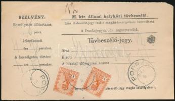 1914 Távbeszélő jegy 2x1K Turul bérmentesítéssel POPRÁD (fordított évszám a bélyegzésben)
