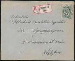1914 Árvíz 16f egyes bérmentesítés helyi ajánlott levélen