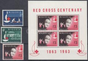 1963 Vöröskereszt sor Mi 138-140 + blokk Mi 2