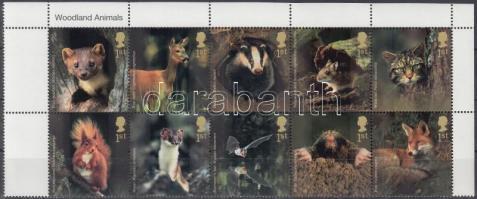 2004 Erdei állatok üresmezős ívsarki tízestömb Mi 2236-2245