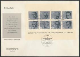 1964 Hitler elleni merénylet 20. évfordulója blokk Mi 3 FDC