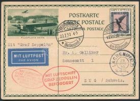 1930 Zeppelin pfalzi utja oda-vissza repülés, svájci díjjegyes levelezőlap levelezőlap D.Reich 1M légiposta bélyeggel / Zeppelin Pfalz-flight postcard
