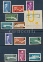 1961 Universiade 1961 nemzetközi ifjúsági sportjátékok fogazott és vágott sor Mi 1224-1229, 1237-1242 + blokk 8