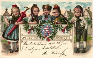 Hessen, Volkstrachten; Lith. Kunstanstalt Heinr. & Aug. Brüning / folklore, litho