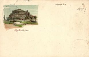 1895 (Vorläufer!) Dresden, Kgl. Hoftheater / theatre, litho