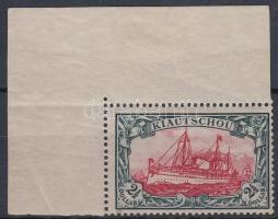 Kiautschou 1905 Mi 27B ívsarki bélyeg, a felső ívszél elvált / corner piece, the above margin aparted. Certificate: Lantelme