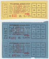 cca 1980 Régi, fel nem használt BKV vonaljegyek: autóbusz vonaljegy 1,50Ft, villamos vonaljegy 1,-Ft
