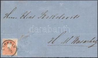 1858-1861 5kr levél előlapn SZEGEDIN, a bélyeg 3 oldalán látványos ollóval való vágás