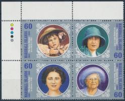 2000 Erzsébet anyakirálynő születésének 100. évfordulója sor ívsarki 4-es tömbben Mi 1390-1393