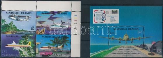 1986 Nemzetközi bélyegkiállítás sor ívsarki 4-es tömbben Mi 77-80 + blokk 1