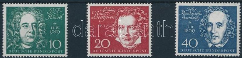 1959 A bonni Beethoven-csarnok blokkból kitépett bélyegek Mi 315, 317, 319