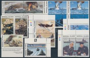 1989-1995 II. világháború 23 db klf kiadás, közte ívszéli értékek és összefüggések, 3 db stecklapon