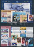 1996-1999 30 db klf bélyeg, közte teljes sorok, ívszéli értékek és összefüggések, 2 db stecklapon