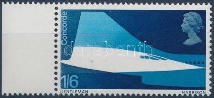1969 Concorde ívszéli bélyeg, hiányzó foszforcsík Mi 506