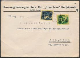 1945 (3.díjszabás) Távolsági levél Kisegítő (II) 3P/50f és 7P/1P bérmentesítéssel