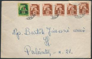 1945 (2.díjszabás) Helyi levél Hadvezérek 5x20f Kisegítő (I) 1P/1P bérmentesítéssel, tartalommal (1 bélyeg sérült)