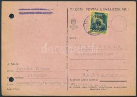 1945 (3.díjszabás) Távolsági levelezőlap Kisegítő 6P/50f bérmentesítéssel, regiszter lyukasztással