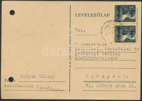 1945 (3.díjszabás) Távolsági levelezőlap Kisegítő 2x3P/50f bérmentesítéssel, regiszter lyukasztással