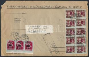 1945 (3.díjszabás) Távolsági cenzúrázott nagy levél 40 db Kisegítő (I) bélyeggel bérmentesítve (sérült a boríték)