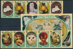 1981 Nemzetközi gyermekév: Macskás festmények vágott sor ötöscsíkokban, 2 érték duplán szerepel Mi 730-736 B + vágott blokk Mi 77 B