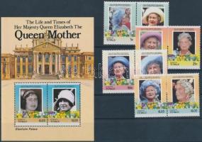 1985/1986 Erzsébet anyakirályné sor párokban + blokk 1985/1986 Mother Wueen Elizabeth set in pairs  + block
