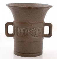1917 Öntöttvas füles hadi mozsár, vaskereszttel, törő nélkül, m:14,5 cm, d:13,5 cm